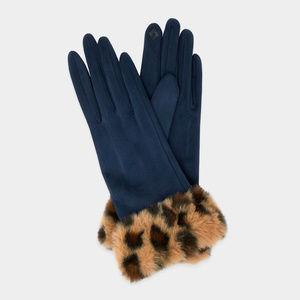 Fur Leopard Pattern Faux Suede Smart Gloves